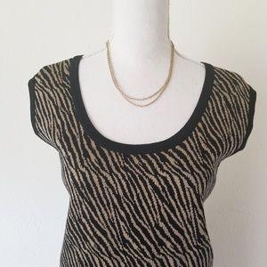 Ming Wang Zebra Stripe Black Tan Shell Tank Top XL
